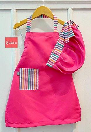 Conjunto - Avental + Gorro Infantil Unikids - Pink Listras Coloridas - Uniblu