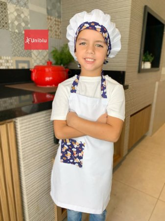 Conjunto - Avental + Gorro Infantil Chefinho - Uniblu
