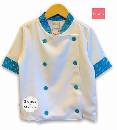 Camisa Chefe Infantil - Dolman Infantil - Poá Azul Piscina - Unikids