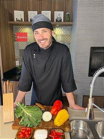 Camisa Chefe Cozinha - Dolmãn Elegance Gabardine Italiano Preto - Uniblu