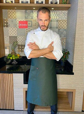 Avental Meia Cintura -  Sarja 100% algodão Premium Verde Musgo ( unisex ) - Uniblu