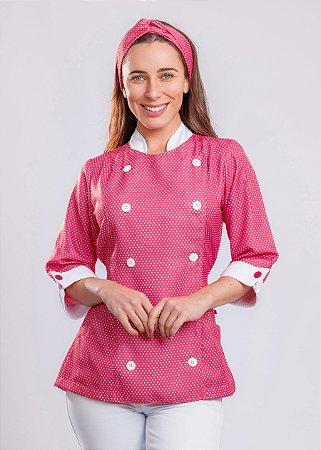 Camisa Feminina Chefe Cozinha - Dolman Stilus - Poá Rosa Chiclets- Uniblu