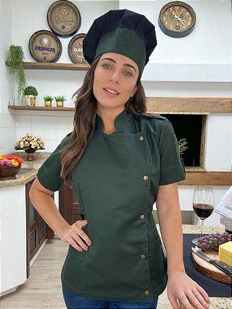 Camisa Feminina Chefe Cozinha - Dolman Farda Manga Curta - Verde Musgo - Uniblu