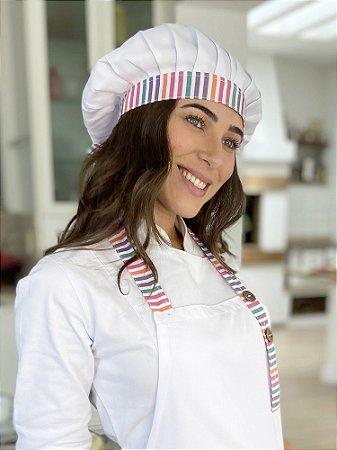 Touca Chef de Amarrar - Listras Coloridas