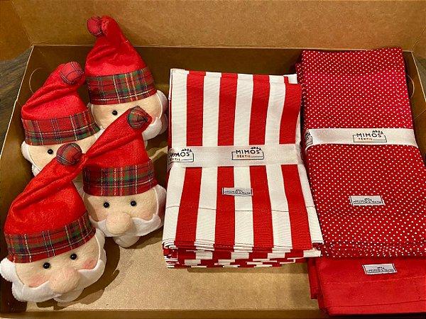 Kit Natal 4 Lugares - Jogo Americano - Listrado - Vermelho - Guardanapos Poá Pequeno Vermelho e Guardanapo Liso Vermelho - Mimos Têxtil
