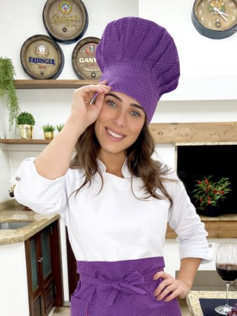 Touca Chefe - Poá Roxo - uniblu
