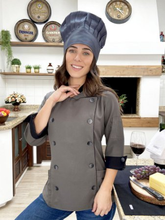 Camisa Feminina Chefe Cozinha - Dólman Stilus Chumbo - Uniblu