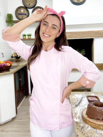 Camisa Feminina Chefe Cozinha - Dolman Stilus Rosa Bebê com Detalhes em Poá Rosa Claro - Uniblu
