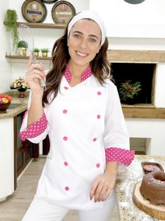 Camisa Feminina Chefe Cozinha - Dolman Stilus Branca com Detalhes em Coroa Pink - Uniblu