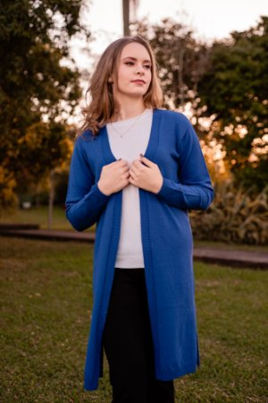 Casaco tricot modal longo liso