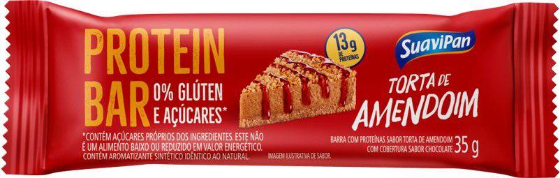 Barra de Proteína SuaviPan Torta de Amendoim Zero Açúcar Display c/ 12 Unid