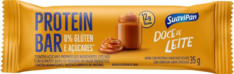Barra de Proteína SuaviPan Doce de Leite Zero Açúcar Display c/ 12 Unid