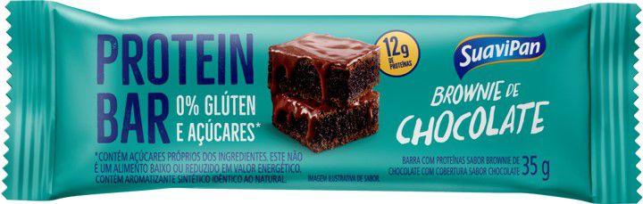 Barra de Proteína SuaviPan Brownie Zero Açúcar Display c/ 12 Unid