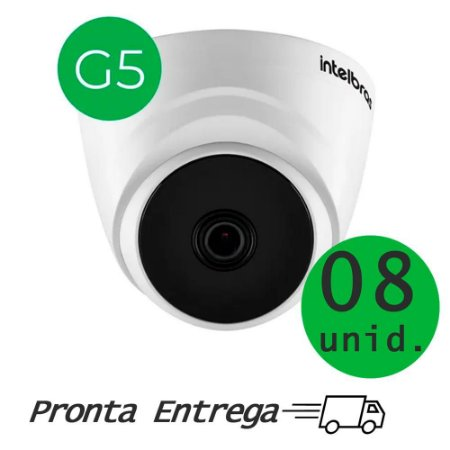 "CONJUNTO DE CAMERA INTELBRAS INTERNA C/ 8 UNI VHD 1120 D G5 720P MULT HD IR 20M LENTE 3,6MM SENSOR 1/2.7"""