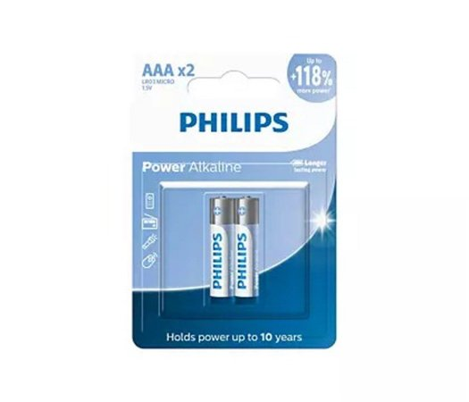 PILHA PHILIPS ALCALINA   AAA LR03P2B/59 COM 2 UNIDADE