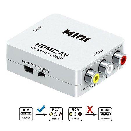 CONVERSOR MINI HDMI P/ RCA AV2HDTV - UP SCALER 1080P