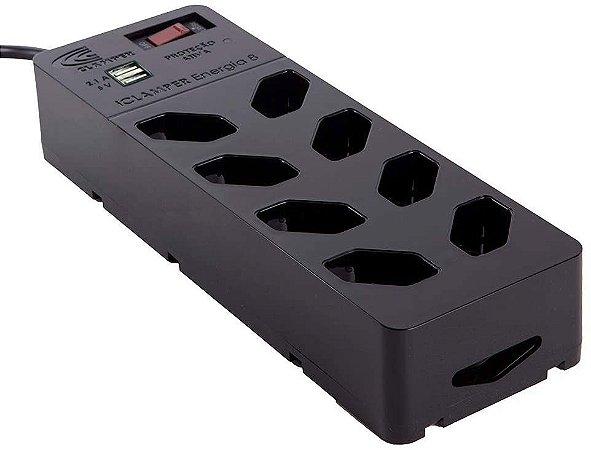 Protetor DPS iCLAMPER Energia 8 tomadas+USB (Preto)