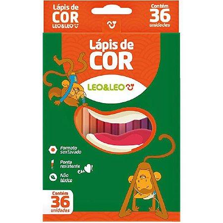 Lapis de cor (sextavado) 36 cores - Leonora
