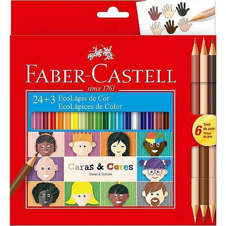 Lapis de cor (sextavado) Ecolapis 24 Cores Caras e Cores - Faber-Castell