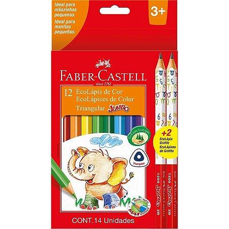 Lápis de cor (jumbo) Ecolapis 12cores Longo+2 Preto - Faber-Castell