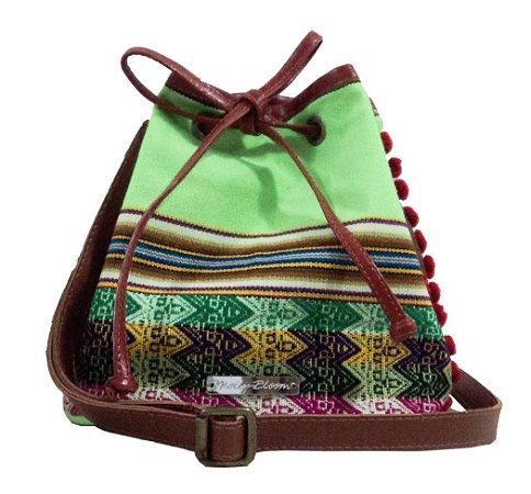 Bolsa Saco Listra Étnica em Tons de Verde