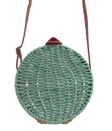 Bolsa redonda de palha color rattan