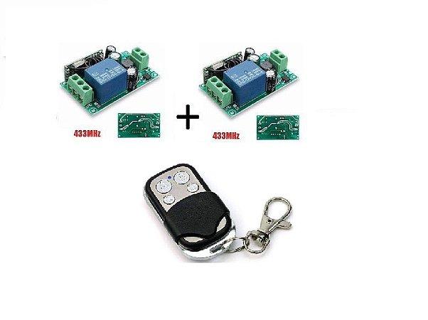 Kit 02 Interruptores Sem Fio RF433(85v~220v)+Controle 433Mhz