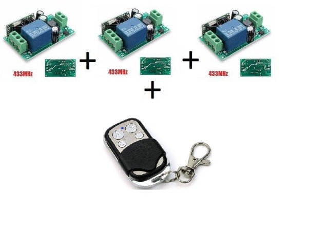 Kit 03 Interruptores Sem Fio RF433(85v~220v)+Controle 433Mhz