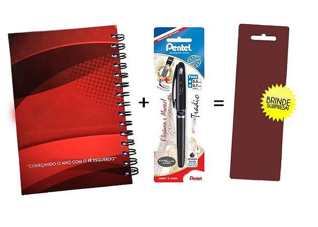 Kit Agenda Espiral 2019 Para Canhotos (modelo 1) + Caneta Energel SM/BLN115A (0.5mm) Azul + Caneta Pentel de brinde