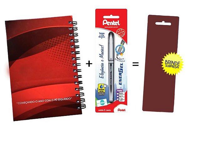Kit Agenda Espiral 2019 Para Canhotos (modelo 1) + Caneta Energel SM/BL27 (0.7mm) Preta + Caneta Pentel de brinde