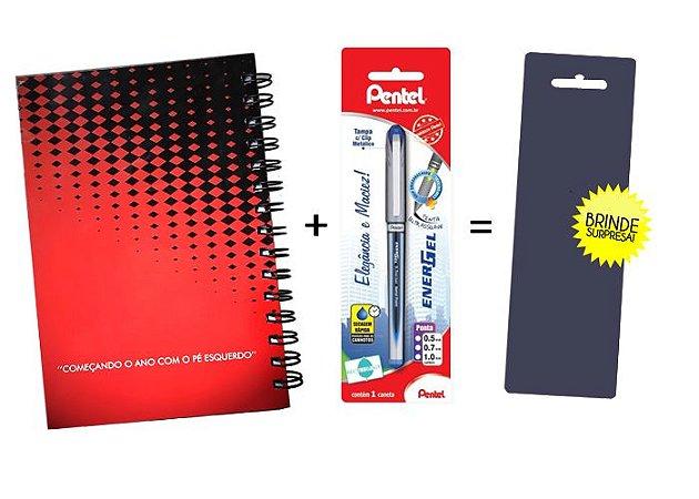 Kit Agenda Espiral 2019 Para Canhotos (modelo 2) + Caneta Energel SM/BLN25 (0.5mm) Preta + Caneta Pentel de brinde