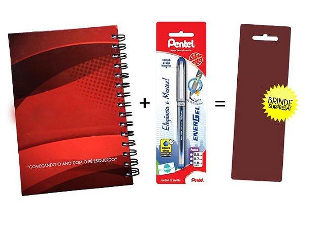 Kit Agenda Espiral 2019 Para Canhotos (modelo 1) + Caneta Energel SM/BLN25 (0.5mm) Preta + Caneta Pentel de brinde