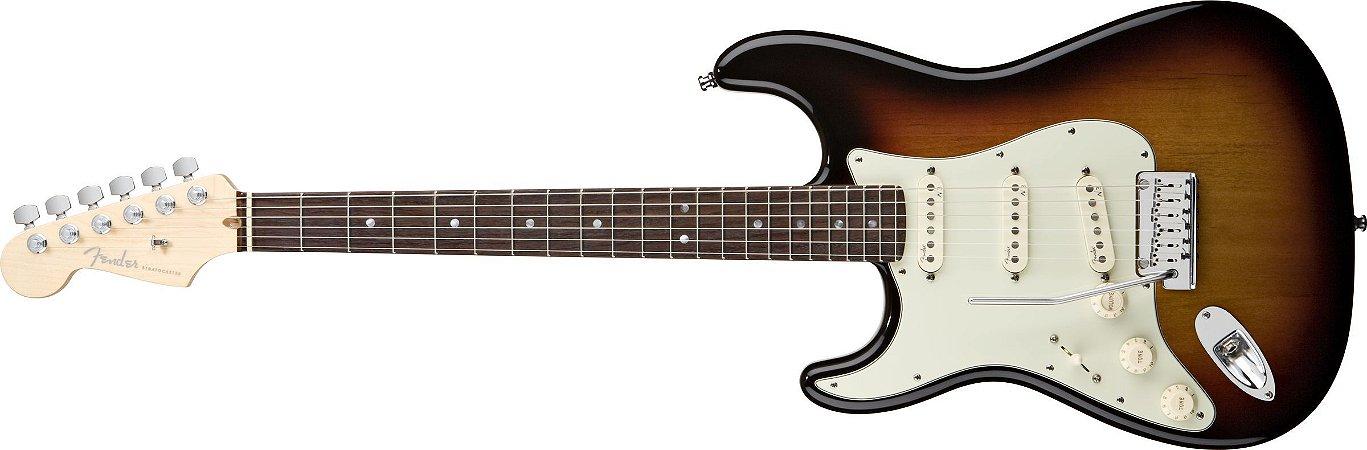 Guitarra para Canhotos FENDER 011 9020 - AM Deluxe Stratocaster LH - 700 - 3-Color Sunburst