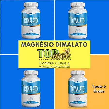 Magnésio Dimalato em Cápsulas - Compre 3 Leve 4 potes de 60 Cápsulas