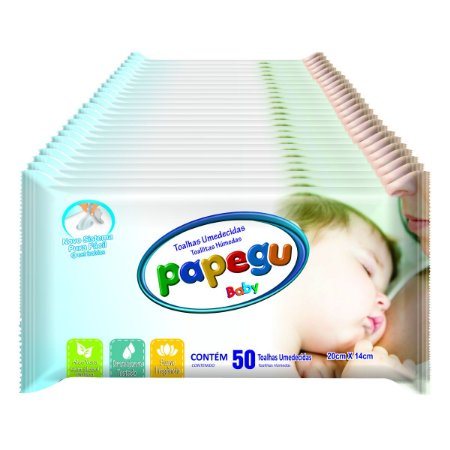 Toalhinha Umedecida Papegu Baby 50 Unidades - 24 Pacotes