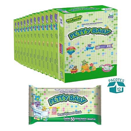 Fralda Infantil Petty Baby Mega Pacotão 12 Pacotes + Toalhinha Umedecida