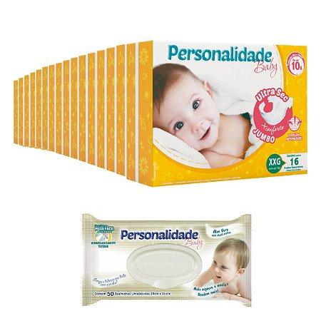Fralda Personalidade Ultra Sec Jumbo 16 Pacotes + Toalhinha Umedecida