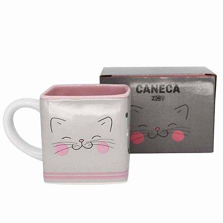 Caneca Cerâmica 300ml Cubo Zona Criativa Meow Power