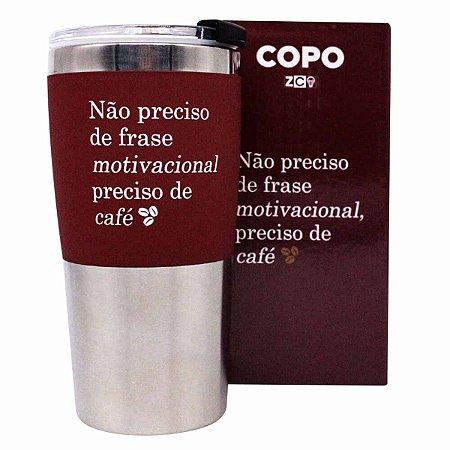 Copo Viagem Inox 450ml Max Zona Criativa - Preciso de Café