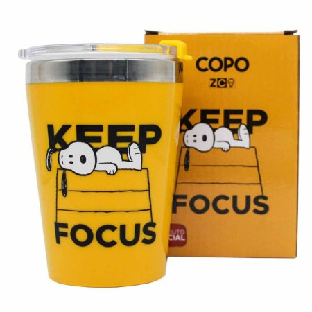 Copo Viagem Inox 300ml Snap Zona Criativa Snoopy