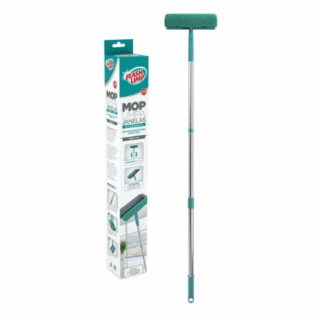 Mop Limpa e Seca Vidros Janelas c/ Cabo Extensível FlashLimp