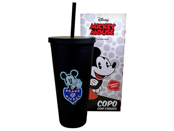 Copo Plástico Com Canudo 650ml Mickey Mouse Zona Criativa
