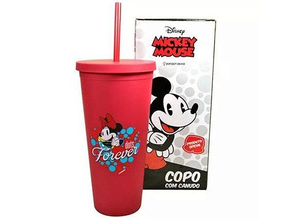 Copo Plástico Com Canudo 650ml Minnie Mouse Zona Criativa