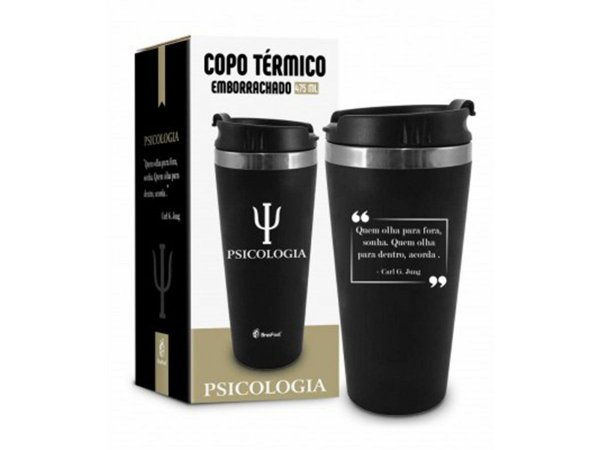 COPO TÉRMICO 450ML BRASFOOT EMBORRACHADO CURSO PSICOLOGIA