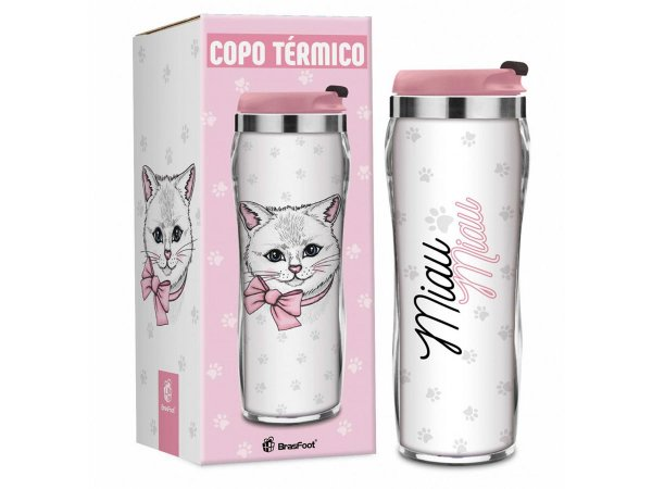 COPO TÉRMICO 450ML BRASFOOT REF.1153 GATINHA MIAU