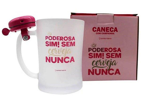 CANECA DE VIDRO 650ML C/ CAMPAINHA ZONA CRIATIVA PODEROSA