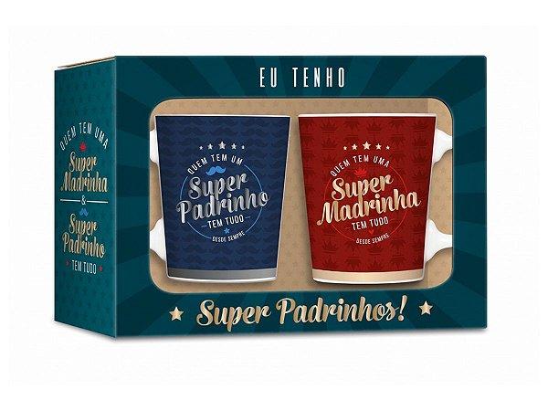 CONJUNTO 2 CANECAS DE PORCELANA BRASFOOT SUPER PADRINHOS