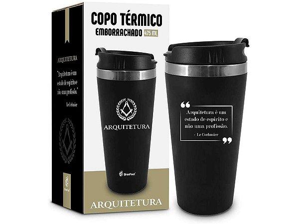 COPO TÉRMICO 450ML BRASFOOT EMBORRACHADO CURSO ARQUITETURA