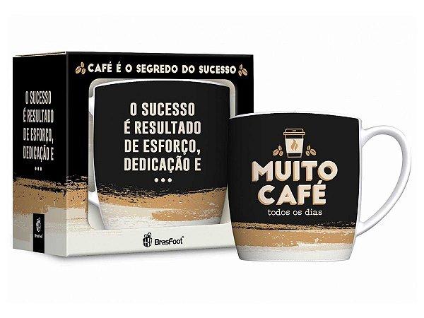 Caneca Porcelana 360ml Urban Brasfoot Muito Café