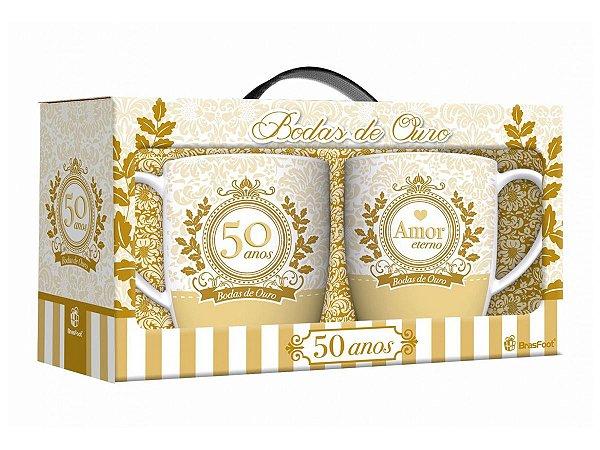 Caneca Porcelana 360ml Urban c/2un Brasfoot - Bodas de Ouro